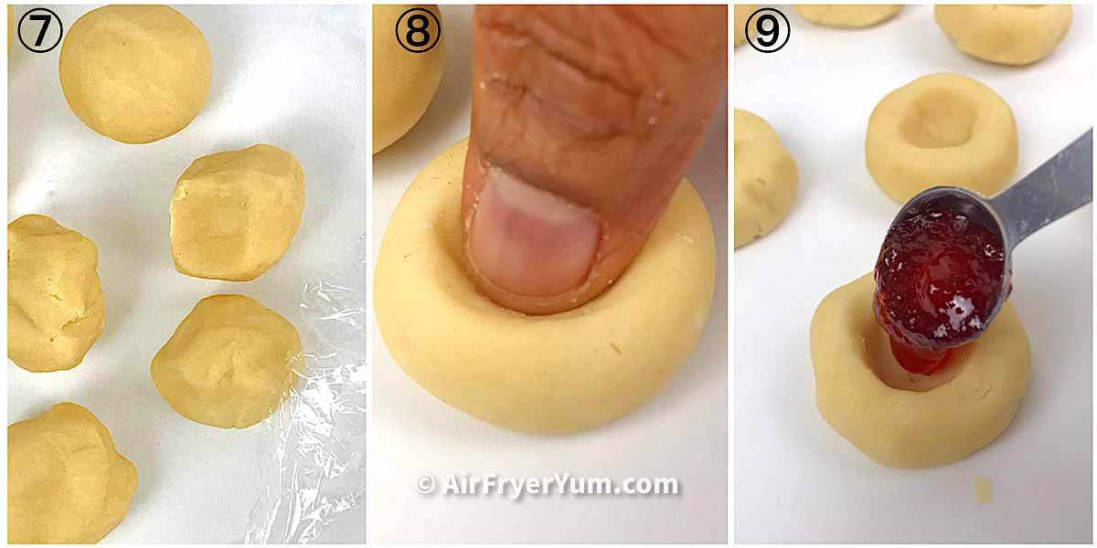 A collage showing the steps to forming the balls, making indent indentation and filling the thumbprint cookies with jam