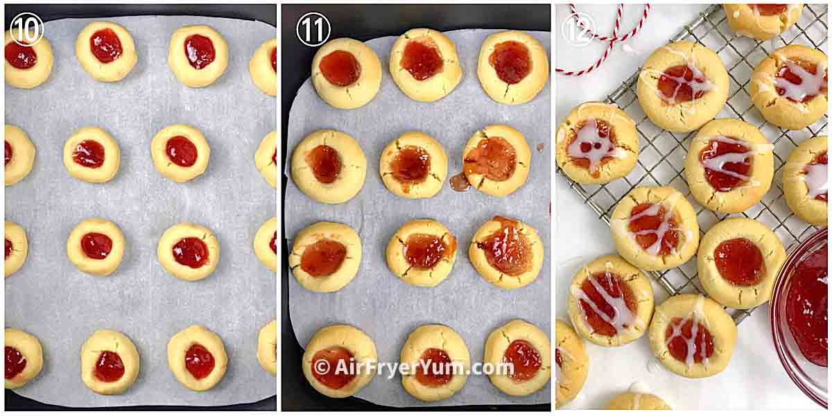 A collage showing cookies on a parchment paper being baked in the air fryer and some baked cookies on a rack